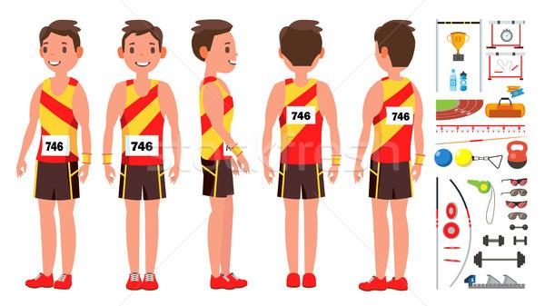 Atletiek man speler mannelijke vector concurrentie Stockfoto © pikepicture