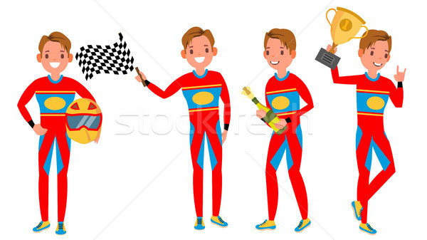 Sport Car Racer Young Man Vector. Racing Championship. Red Uniform. Turbo Rally. Man. Modern Driver. Stock photo © pikepicture