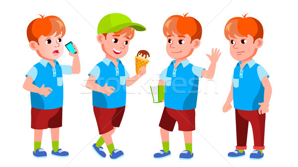 Boy Schoolboy Kid Poses Set Vector. Primary School Child. Auditorium. Friendship. Pose, Beauty. For  Stock photo © pikepicture