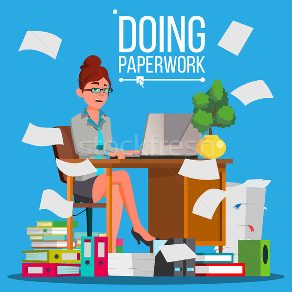 Business Woman Doing Paperwork Vector. Office Worker. Overloaded. Stressful. File Folders. Depressed Stock photo © pikepicture