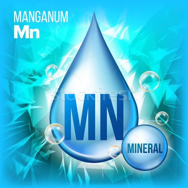 Mn Manganum Vector. Mineral Blue Drop Icon. Vitamin Liquid Droplet Icon. Substance For Beauty, Cosme Stock photo © pikepicture