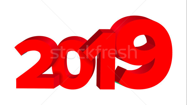 2019 Red Sign Vector. Sign 3d Numbers 2019. Greeting Card Design. Red. Illustration Stock photo © pikepicture