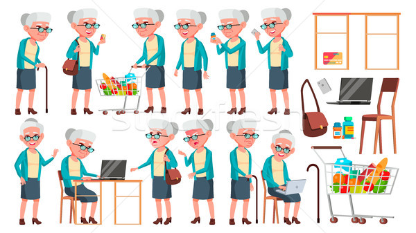 Old Woman Poses Set Vector. Elderly People. Senior Person. Aged. Cute Retiree. Activity. Advertiseme Stock photo © pikepicture