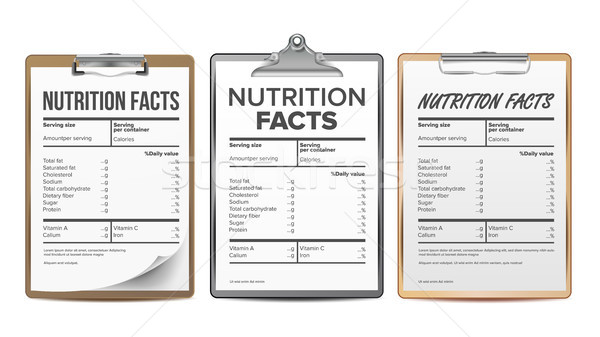 Nutrition Facts Vector. Blank, Template. Diet Calories List. For Box. Food Content. Fat Information. Stock photo © pikepicture