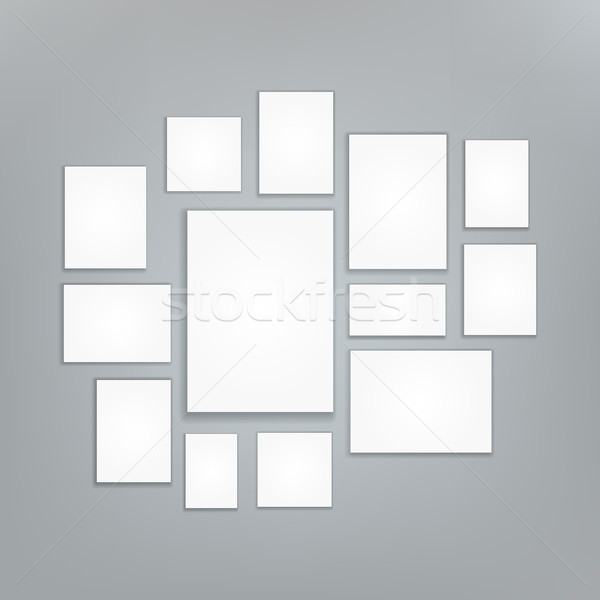 Blank white 3d Paper Canvas Vector. Posters Mock ups. Presentation Photography Portfolio. Illustrati Stock photo © pikepicture