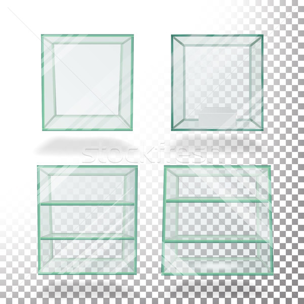 Empty Transparent Glass Box Cube Set Vector Stock photo © pikepicture