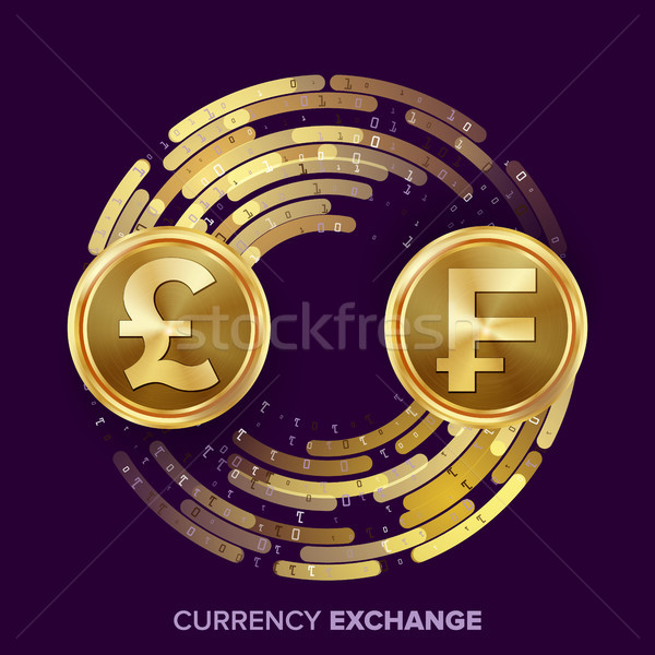 Money Currency Exchange Vector. GBP, Franc. Golden Coins With Digital Stream. Conversion Commercial  Stock photo © pikepicture