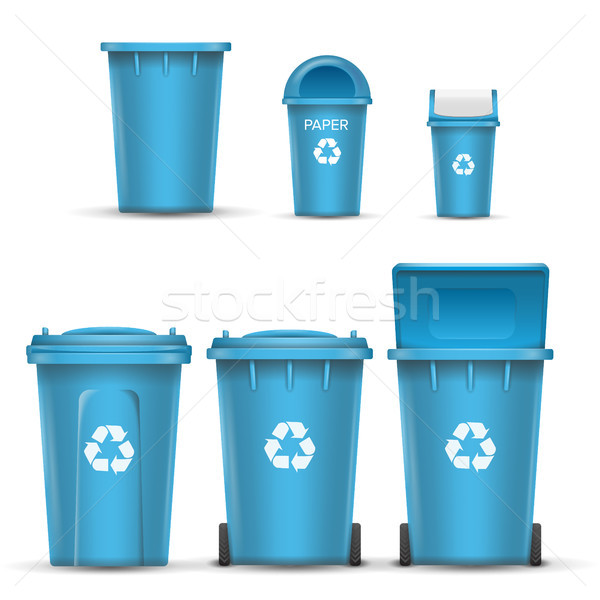 Blauw recycling emmer vector papier Stockfoto © pikepicture