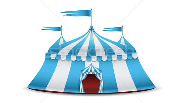 Cartoon Circus Tent Vector. Blue And White Stripes. Funfair, Carnival Holidays Concept Illustration Stock photo © pikepicture