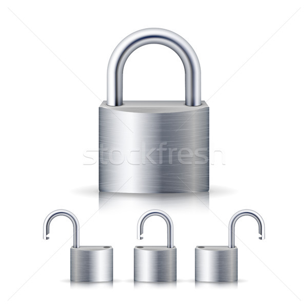 Realistic Open And Closed Silver Padlocks Set. Isolated On White Stock photo © pikepicture