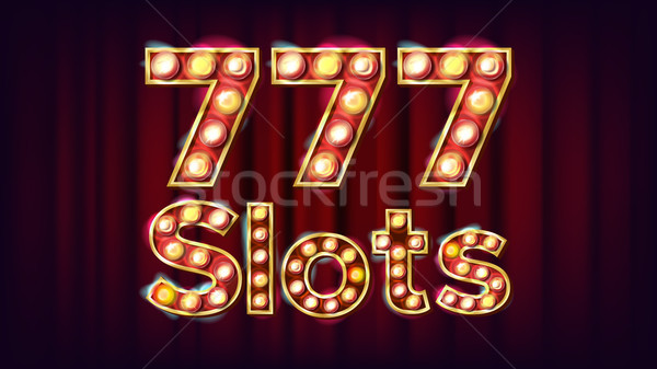 777 slots Banner Vector. Casino Vintage Style Illuminated Light. For Advertising Design. Classic Ill Stock photo © pikepicture