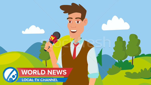 Stock photo: Journalist Man On Air. News Reporter Performing Concept Vector. Male With Microphone. Video Camera V