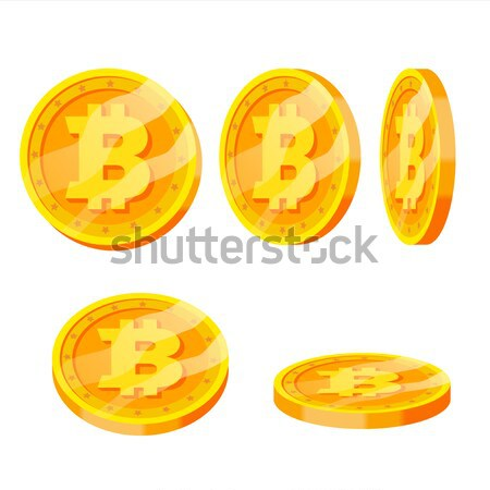Bitcoin Gold Coins Vector Set. Flip Different Angles. Modern Virtual Money. Digital Currency. Isolat Stock photo © pikepicture