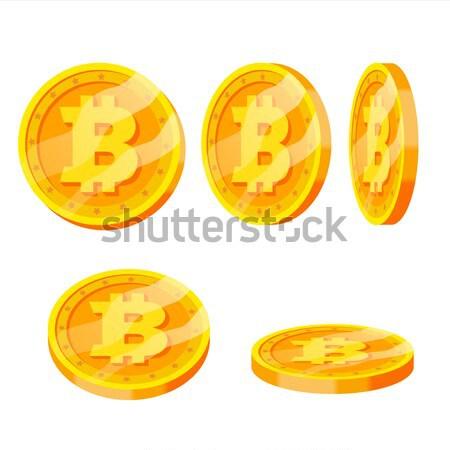 Bitcoin altın madeni vektör ayarlamak farklı modern Stok fotoğraf © pikepicture