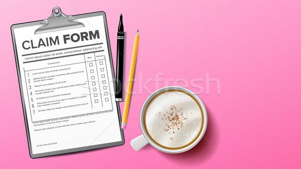 Claim Form Vector. Clinic, Hospital Blank. Clipboard. Life Planning. Coffee Cup, Pencil. Background. Stock photo © pikepicture