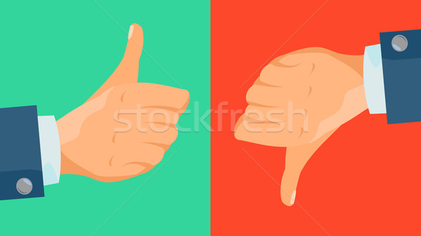 Dislike And Like Icon Vector. Thumbs Up, Thumbs Down Business Hands. Social Media Network Web Symbol Stock photo © pikepicture