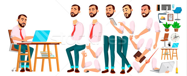 Office Worker Vector. Face Emotions, Various Gestures. Animation Creation Set. Businessman Person. S Stock photo © pikepicture