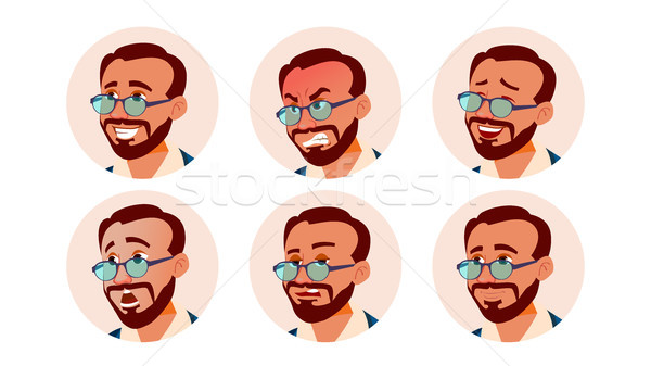 Avatar Icon Man Vector. Turkish. Turk Human Emotions. Anonymous Male. Various Expression. Various He Stock photo © pikepicture