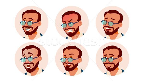 Avatar ikon férfi vektor török emberi Stock fotó © pikepicture