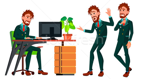 Office Worker Vector. Businessman Worker. Poses. Animated Elements. Front, Side View. Happy Job. Par Stock photo © pikepicture
