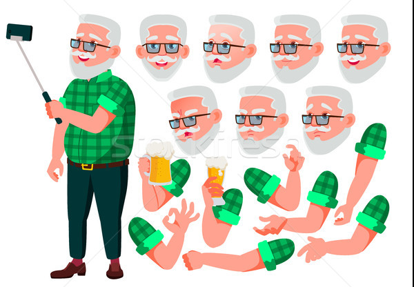 Old Man Vector. Senior Person. Aged, Elderly People. Positive Person. Face Emotions, Various Gesture Stock photo © pikepicture