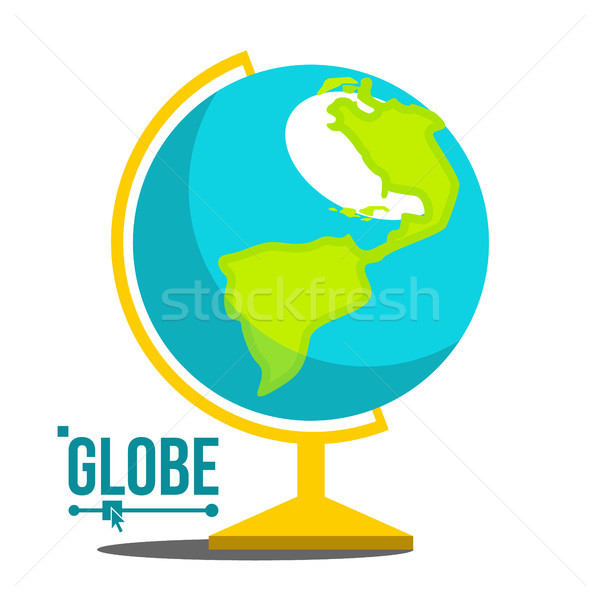 School Globe Icon Vector. Geography Earth Sphere Sign. Cartography Model. Travel Object. Isolated Fl Stock photo © pikepicture