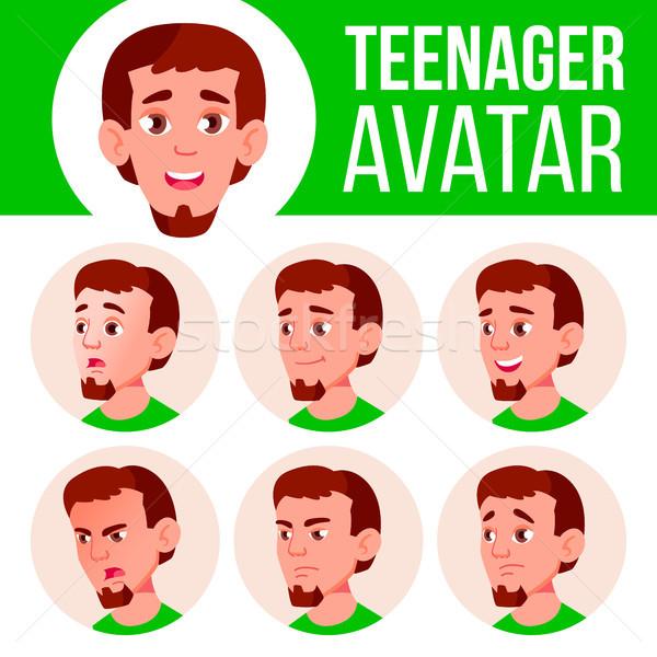 Tini fiú avatar szett vektor arc Stock fotó © pikepicture