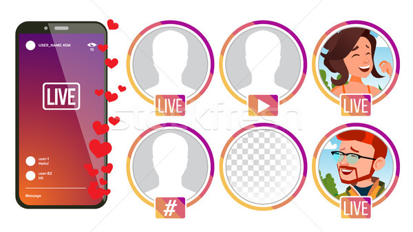 Stories Vector. Girl, Man Streamer. Live Video Streaming. Online Streaming Video. Social Media Conce Stock photo © pikepicture