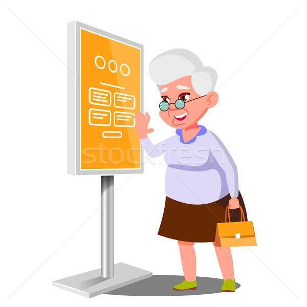 Old Woman Using ATM, Digital Terminal Vector. Interactive Informational Kiosk. Electronic Self Servi Stock photo © pikepicture