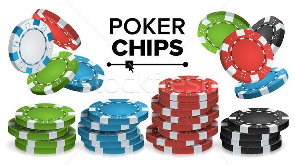 Kaszinó zsetonok vektor 3D valósághű színes póker Stock fotó © pikepicture
