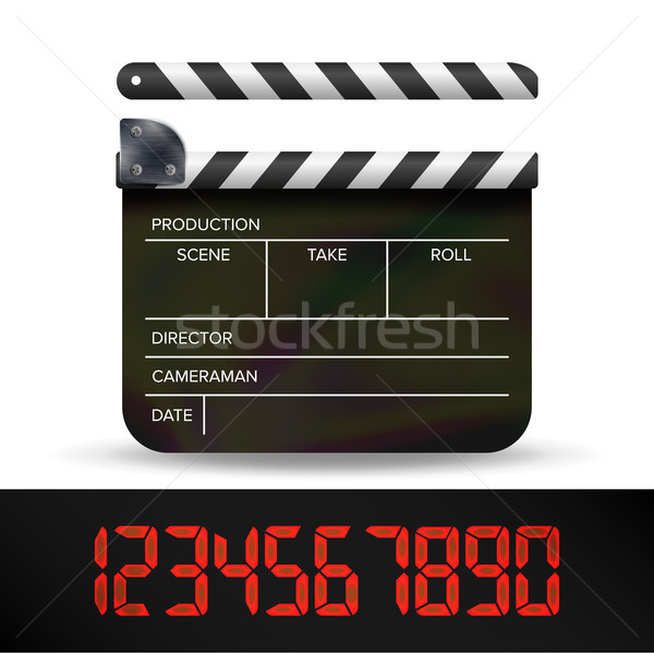 Clapper Board Vector. Digital Film Movie Clapper Board With Red Digital Numbers. Stock photo © pikepicture