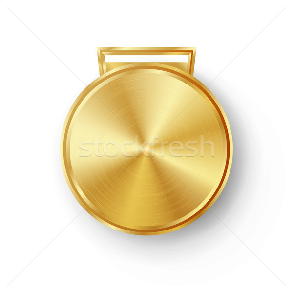 Competition Games Golden Medal Template Vector. Realistic Circle Geometric Badge. Technology Perfora Stock photo © pikepicture