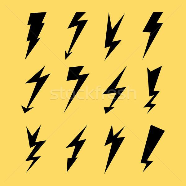 Yıldırım elektrik gök gürültüsü simge işaretleri Stok fotoğraf © pikepicture