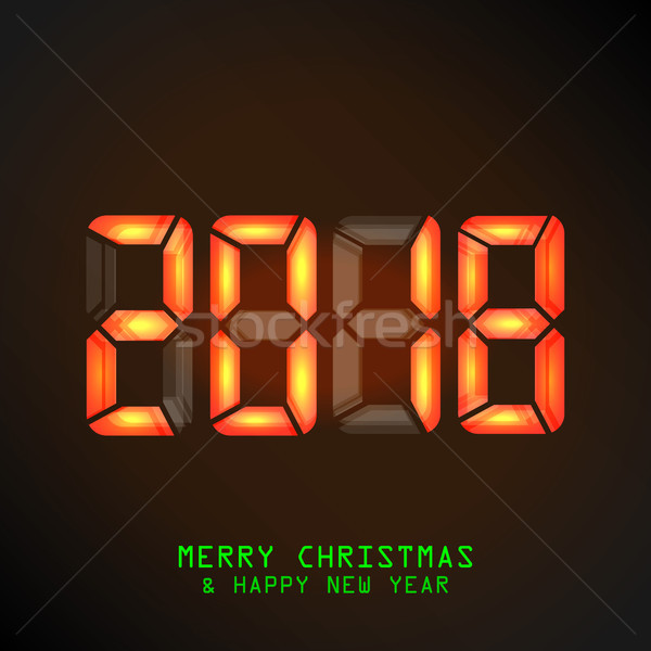 Happy New Year 2018. Vector Mechanical Timetable, Split Flap Display Illustration. Stock photo © pikepicture