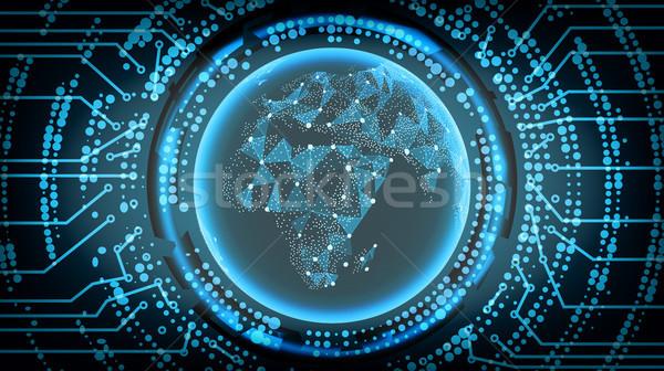 ストックフォト: 将来 · 技術 · アフリカ · ベクトル · インターネット · 背景