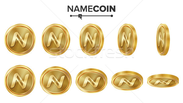 Namecoin 3D Gold Coins Vector Set. Realistic. Flip Different Angles. Digital Currency Money. Investm Stock photo © pikepicture