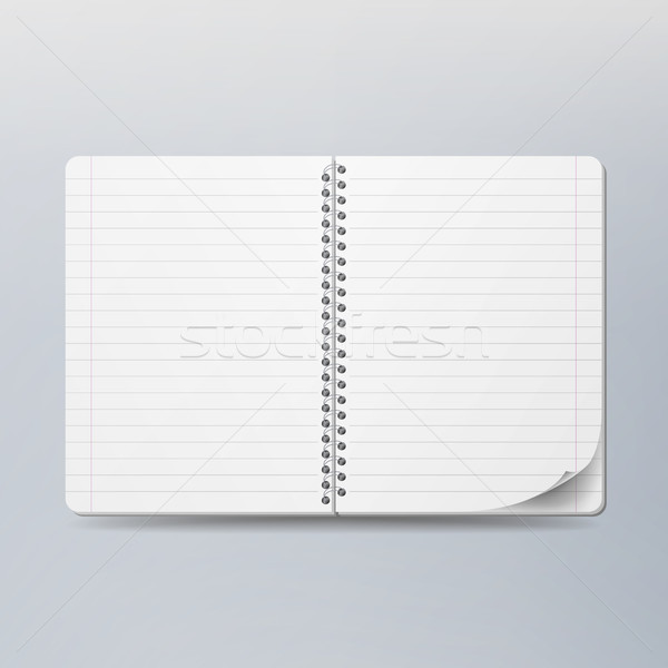 Realistic Note Template Blank. Spiral And Paper. Clean Mock Up For Your Design. Opened Notebook For  Stock photo © pikepicture