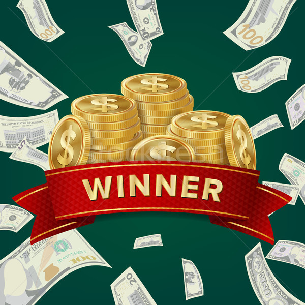 Big Win Billboard For Casino. Winner Sign. Jackpot Prize Design. Coins background. Stock photo © pikepicture