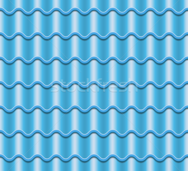 Blue Corrugated Tile Vector. Element Of Roof. Seamless Pattern. Fragment Of Roof Illustration. Stock photo © pikepicture