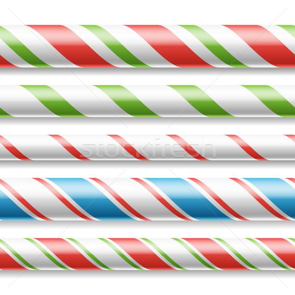Noël bonbons canne vecteur horizontal Photo stock © pikepicture