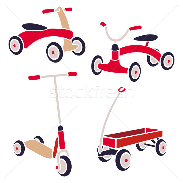 Vintage Kids Toys Bicycle, Kick Scooter, Red Wagon. Vector Collection Stock photo © pikepicture