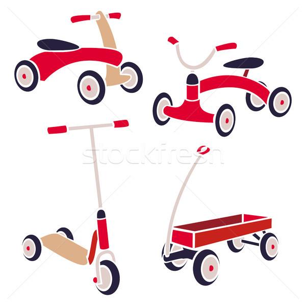 Foto stock: Vintage · crianças · brinquedos · bicicleta · chutá