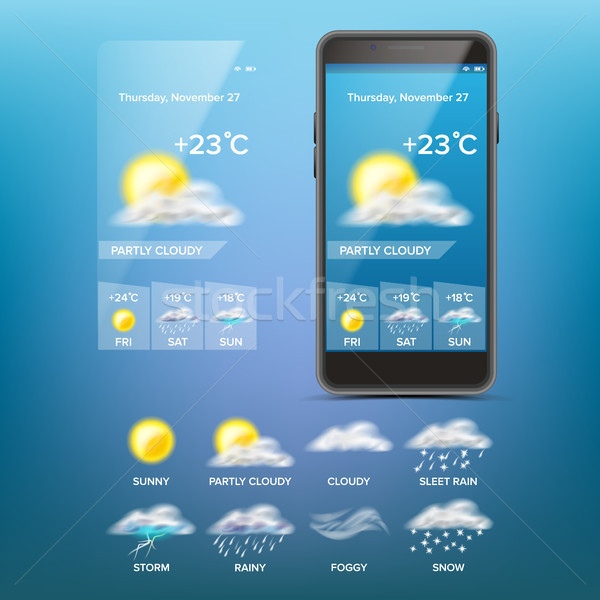 Weather Forecast App Vector. Weather Icons Set. Blue Background. Mobile Weather Application Screen.  Stock photo © pikepicture