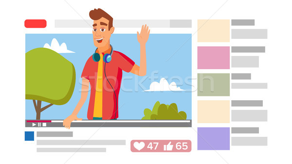 Boy Leading Online Stream Channel. Online Internet Streaming Video Concept. Cartoon Flat Illustratio Stock photo © pikepicture