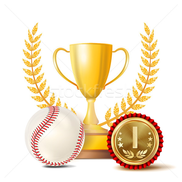 Baseball Achievement Award Vector. Sport Banner Background. White Ball, Red Stitches, Winner Cup, Go Stock photo © pikepicture