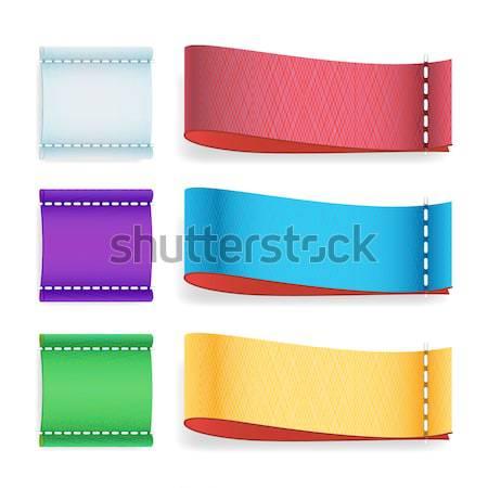 Stockfoto: Kleur · label · weefsel · vector · realistisch · ingesteld