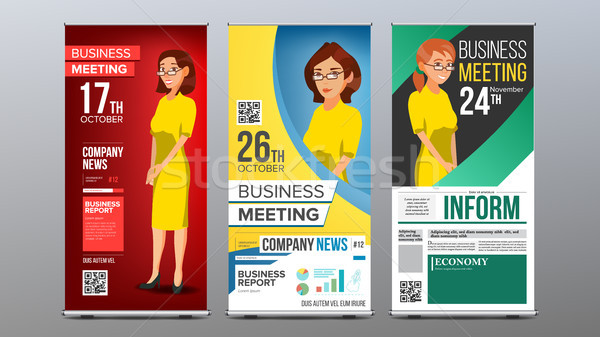 Roll Up Banner Set Vector. Vertical Billboard Template. Business Woman. Expo, Presentation, Festival Stock photo © pikepicture