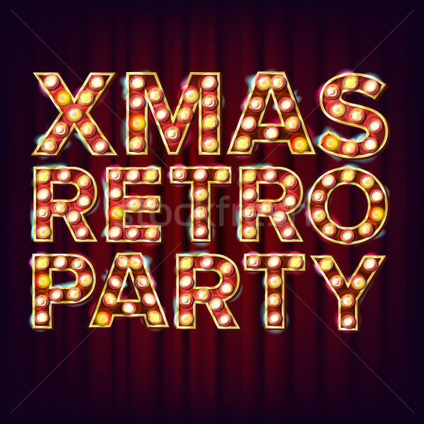 Christmas Retro Party Invitation Sign Vector. 3D Electric Glowing Digit. 3D Electric Glowing Digit.  Stock photo © pikepicture