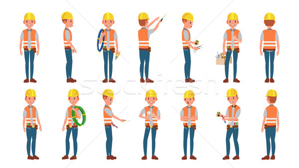 Classic Electrician Vector. Different Poses. Working Man. Isolated Flat Cartoon Character Illustrati Stock photo © pikepicture