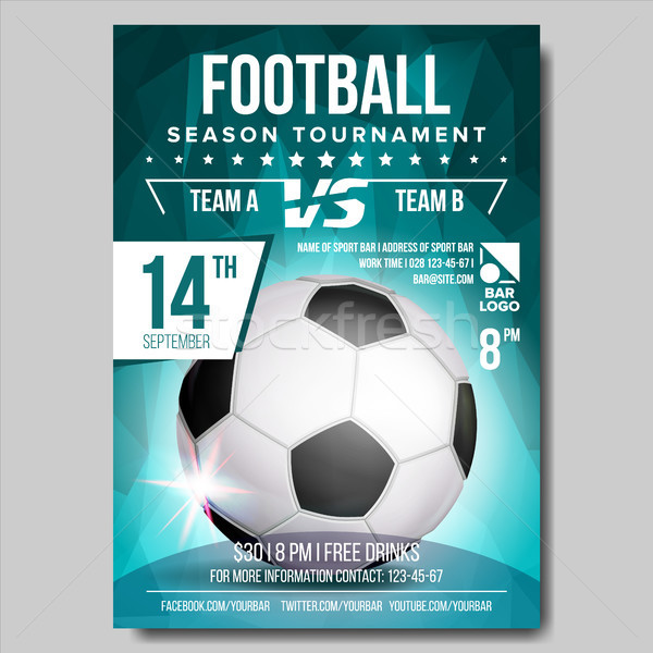 Soccer Poster Vector. Banner Advertising. Sport Event Announcement. Ball. Announcement, Game, League Stock photo © pikepicture